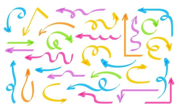 Pfeil hand gezeichneten textmarker bunten satz. formen markersammlung. bunte pfeile, zeiger, pfeilspitzen und markierungen