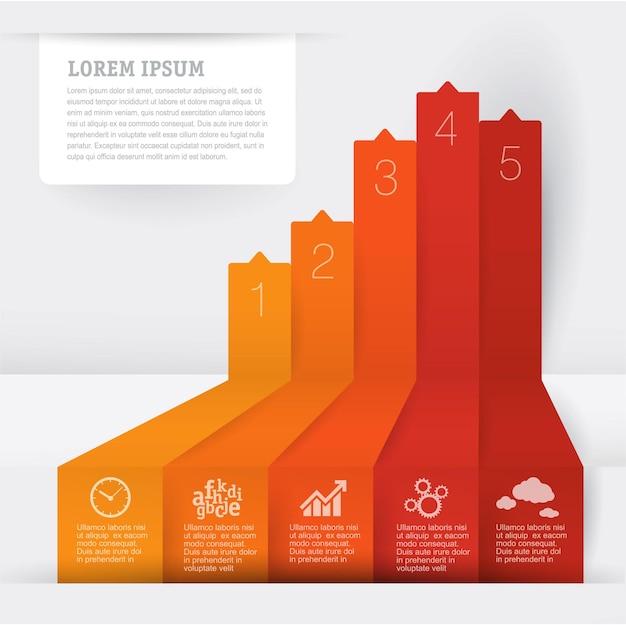 Pfeil-infografik-vorlagenlayout für geschäftsinfografiken mit marketing-symbolen und schrittweisen prozessen