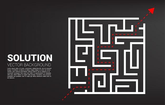 Pfeil mit routenpfad zum verlassen des labyrinths.