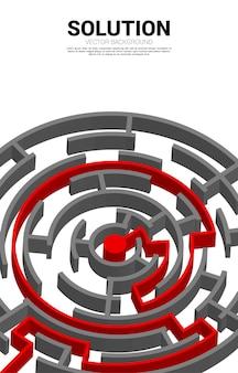 Pfeil mit routenpfad zum zentrum des labyrinths. geschäftskonzept zur problemlösung und lösungsstrategie