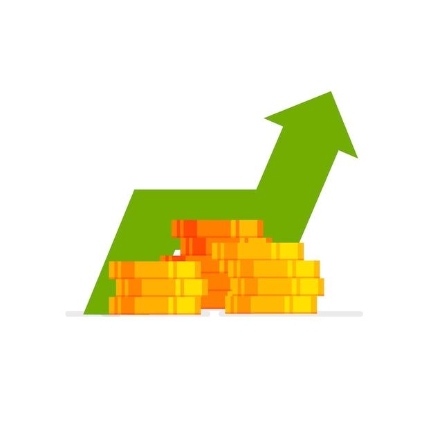 Pfeil nach oben aktiendiagramm geldgewinn finanzielles wachstumskonzept mit stapel von goldmünzen