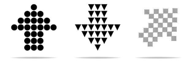 Pfeil-sammlung. schwarze reihe von pfeilsymbolen, zurück, weiter, vorheriges programmsymbol oder webdesign. Premium Vektoren