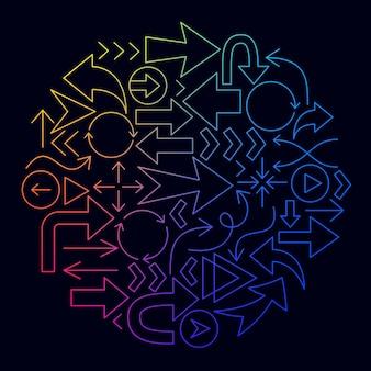 Pfeil symbol leitung kreis konzept. vektor-illustration des umrissdesigns.