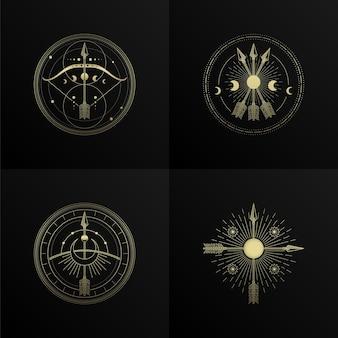 Pfeil und bogen mit vier symbolen und gravur