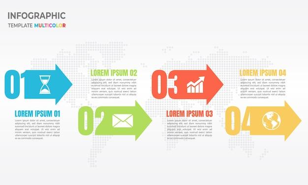 Pfeil und zahl infografik 4 optionen