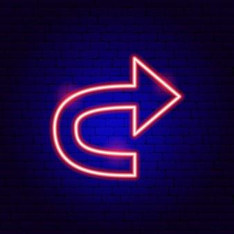 Pfeil zurück leuchtreklame. vektor-illustration der richtungsförderung.