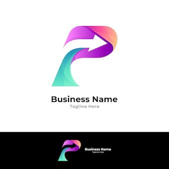 Pfeilbuchstabe p logo designvorlage