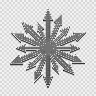 Pfeile der straße in alle richtungen, auf einem transparenten hintergrund. vektor-illustration