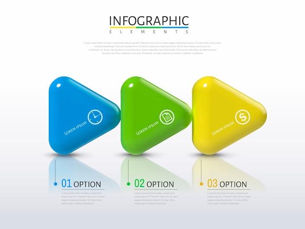 Pfeile infografik, kunststoff textur glänzende pfeile mit verschiedenen farben in der abbildung, prozesskonzept