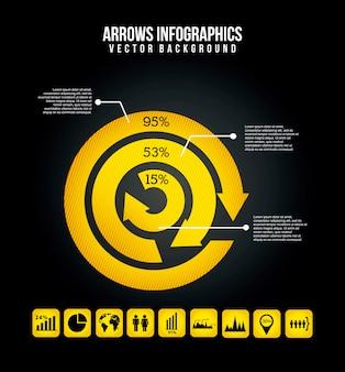 Pfeile infografiken auf schwarzem hintergrund vektor-illustration