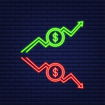 Pfeile nach oben und unten mit euro-zeichen in flachem icon-design auf weißem hintergrund. neon-symbol. vektor-illustration.