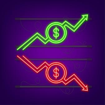 Pfeile nach oben und unten mit euro-zeichen in flachem icon-design auf weißem hintergrund neon-symbol