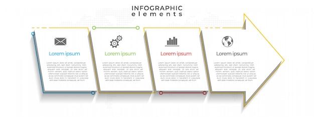 Pfeile timeline infografik vorlage, 4 optionen.