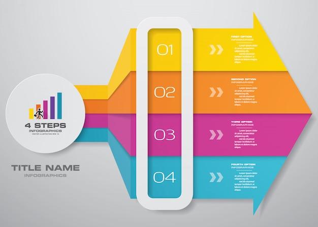 Pfeilschablonendiagramm mit 4 schritten für infografiken.