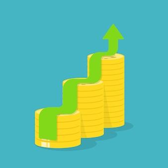 Pfeilwachstum mit goldmünzen, ideenkonzept.