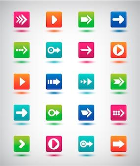 Pfeilzeichen symbol gesetzt. einfacher quadratischer internetknopf auf grauem hintergrund. zeitgenössischer moderner stil. webdesign-elemente