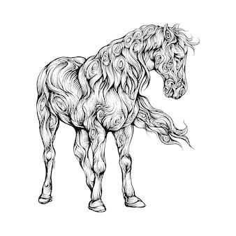 Pferd, das in der hand zeichnungsverzierung geht