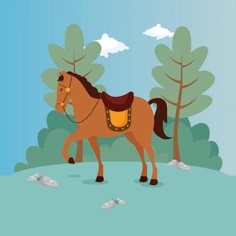 Pferd des prinzen in der landschaft