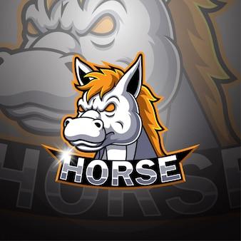 Pferd esport maskottchen logo