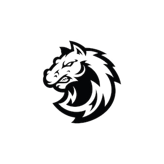 Pferd hengst mustang head cartoon maskottchen illustration logo in schwarz-weiß-farbe