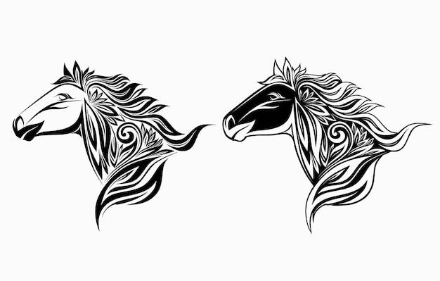 Pferd in blumenverzierung.