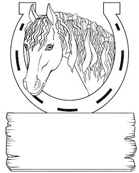 Pferd mit einem hufeisen, schwarzweiss-platte