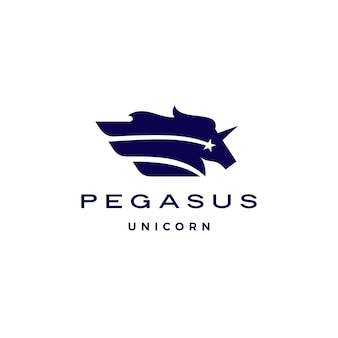 Pferd pegasus einhorn stern flügel logo