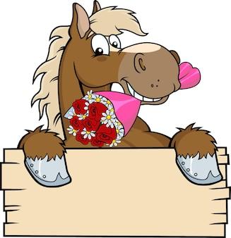 Pferd skizzierte karikatur über einem leeren holz-zeichen, das einen blumenstrauß beißt.