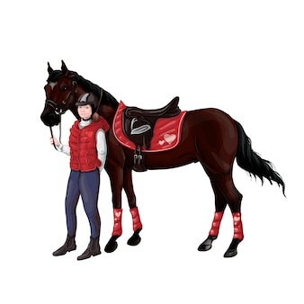 Pferde- und reitermädchenfrau in der munition für das springen