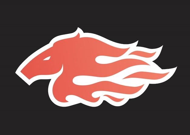 Pferdefeuerlogo-ikonenillustration für branding, autoverpackungsabziehbild, aufkleber und streifen