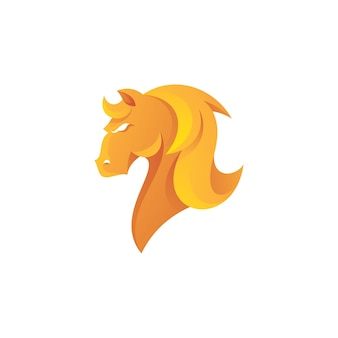 Pferdehengst-kopf-haarmähne-logo mit farbverlauf