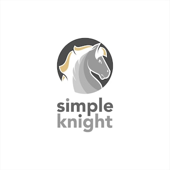 Pferdekopf-logo einfacher runder vektor