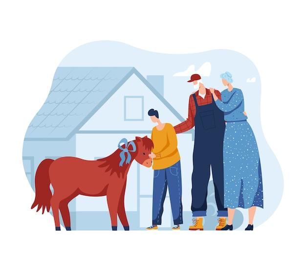 Pferdepony für personen-, kinder- und familienillustration. kindheit mit tierliebe, mutter vater, kleiner sohn glücklich im freien. fid lächelndes zu junges kleines haustier auf ranchfarm, aktivität im freien.
