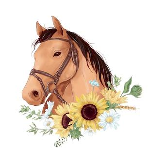 Pferdeporträt im digitalen aquarellstil und ein blumenstrauß von sonnenblumen und gänseblümchen