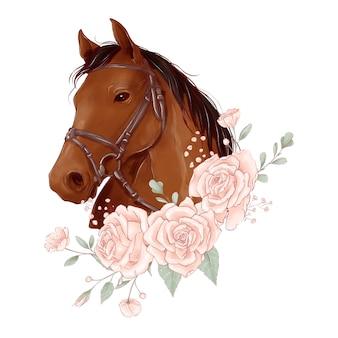 Pferdeporträt im digitalen aquarellstil und im rosenstrauß