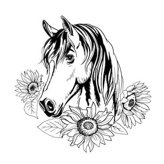 Pferdeporträt mit blumen sonnenblumen