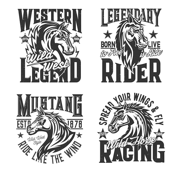 Pferderennen-t-shirt-drucke, reitausflüge und rodeo-club-vektorsymbole. wilder mustang hengst heraldisches kopfemblem für pferde-hippodrom-rennen und polosport, siegeszitate für t-shirt-druck