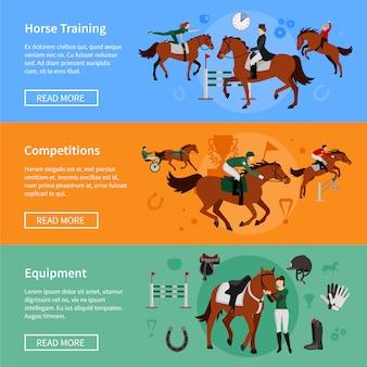 Pferdesport-banner mit munitionselementen und reitern, die im pferdetraining beschäftigt sind