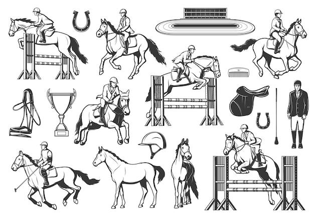 Pferdesport, pferderennen und springen vektoren