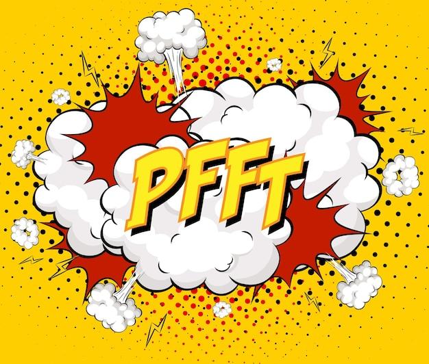 Pfft-text auf comic-wolkenexplosion auf gelbem hintergrund