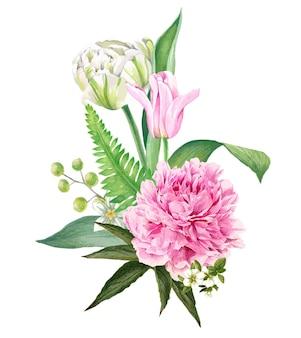 Pfingstrosen- und tulpenstrauß handgezeichnet