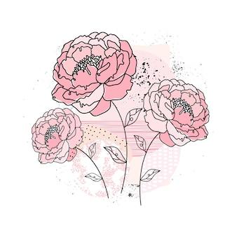 Pfingstrosenblüten in einer durchgehenden linie auf einem abstrakten hintergrund. minimale blumenskizze. zeitgenössische handgezeichnete illustration. elegantes konzept. minimalistischer kunststil. eine schwarze strichzeichnung