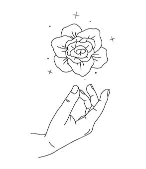 Pfingstrosenblume über frauenhand.