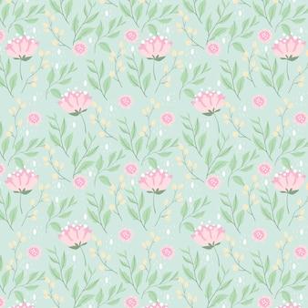 Pfingstrosenblume und nahtloses muster der blätter