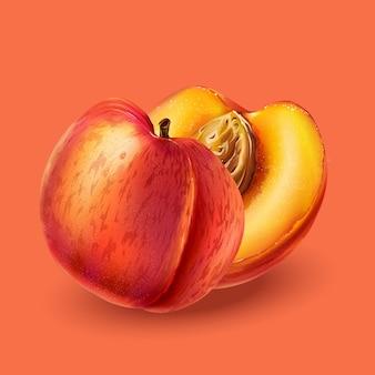 Pfirsich auf rosa hintergrund