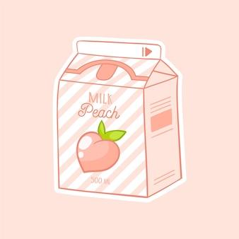 Pfirsich cartoon milch asiatisches produkt handgezeichnete farbige trendige vektor-illustration kawaii anime