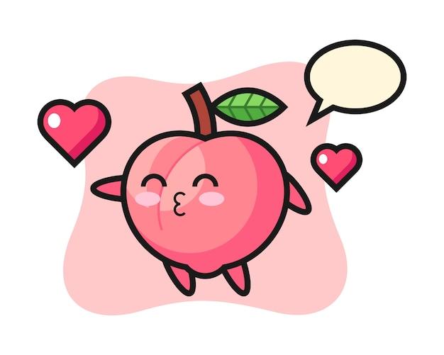 Pfirsich-charakter-karikatur mit küssender geste, niedlicher stilentwurf für t-shirt