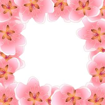 Pfirsich-kirschblüten-rahmen-hintergrund