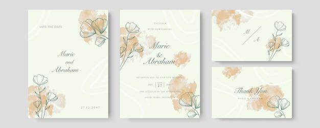 Pfirsich-luxus-hochzeitseinladungskartenvektor. einladendes cover-design mit aquarell-rouge und goldener linienstruktur
