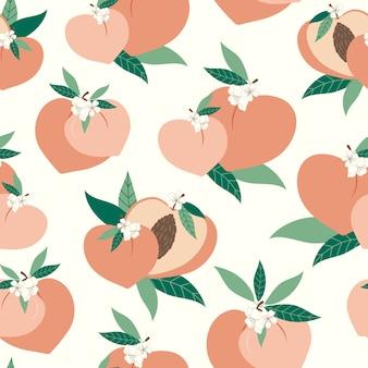 Pfirsich nahtloses muster mit blumen